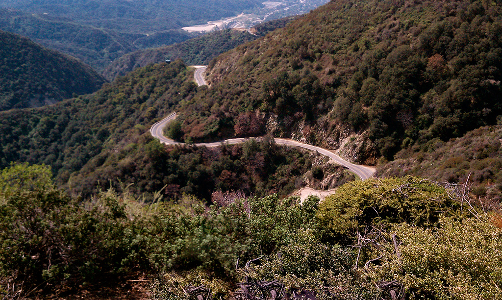 View looking down San Gabriel Canyon Road